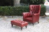 Harvard Leather Armchair & Footstool