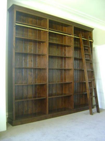 Bookcase with Library rail and ladder