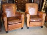 76-69 - Pair of Leather Armchairs