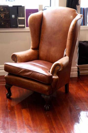 77-97 - Leather Wing Chair
