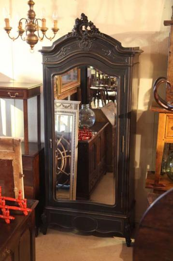 80-22 - French Black One Door Armoire