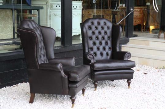 Button Back Wing Leather Chairs