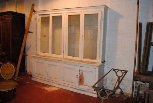 81-60 - Louis Philippe Glazed Cupboard and Bookcase