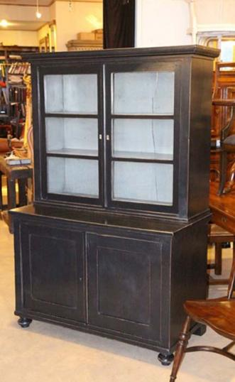 82-31 - Painted Glazed Bookcase and Cupboard