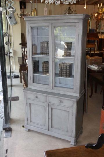 83-91 - Painted Glazed Bookcase and Cupboard