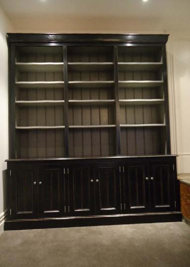 10-65 - Painted Bookcase with Cupboards