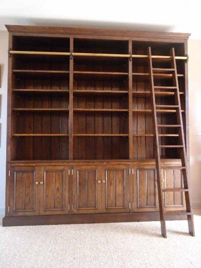 10-66 - Library Bookcase and Cupboards with Ladder