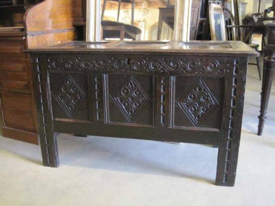 83-02 - Early English Three Panelled Coffer