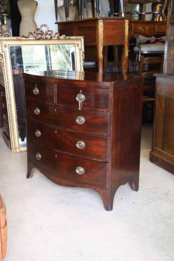 83-55 - English Bow Fronted Chest of Drawers