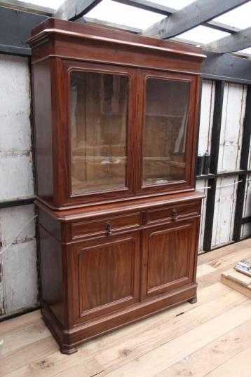 83-60 - French Glazed Bookcase and Cupboard