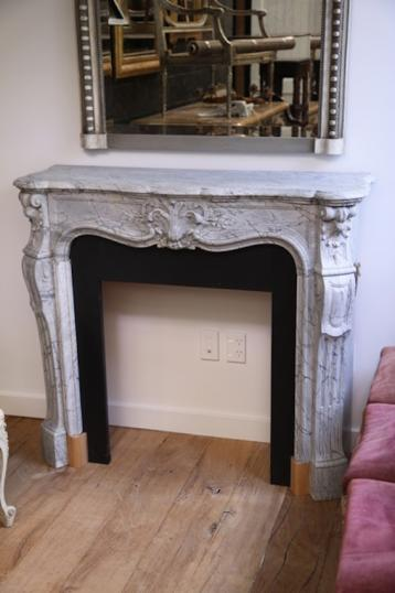 83-76 - Antique French Grey Marble Fire Place