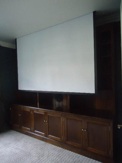 Bookcase Unit with Drop Down Projector Screen