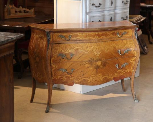 French Marquetry Topped Commode