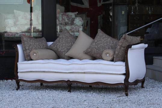 A French Antique Daybed Covered in Viyella Wool  fabric