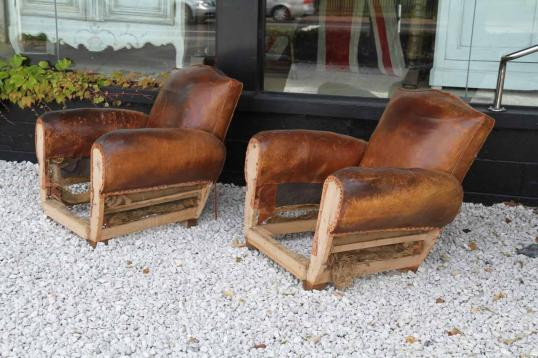 85-74 - Pair of Leather Moustache Back Chairs