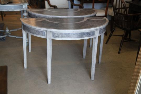 Two Half Round Gustavian Tables