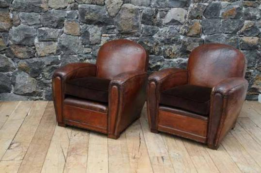 88-46 - Pair of French Leather Club Chairs