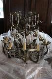 88-77 - French Brass Antique Chandelier with Frosted Lights