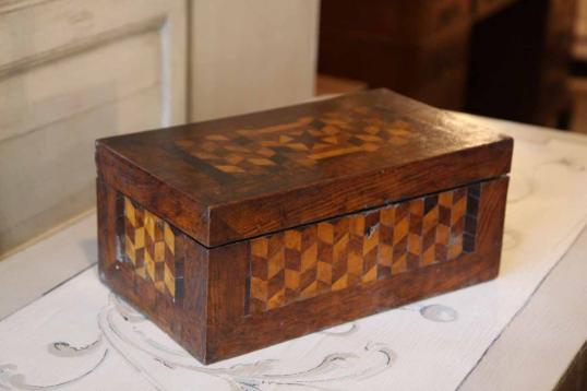 English Walnut Parquetry Box