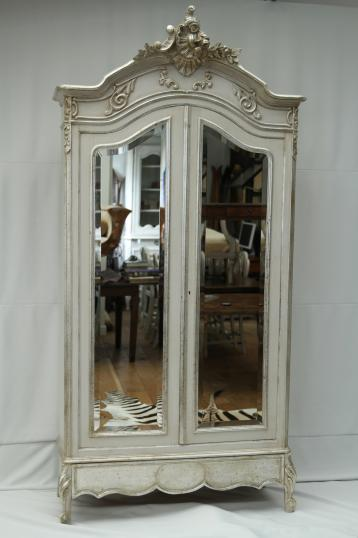89-24 - French Painted Armoire with Mirrored Doors