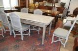 89-34 - Blonded French Provincial Dining Table With Drawer Leaves