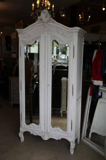 89-38 - French Painted Oak Armoire with Mirrored Doors