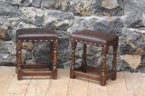 89-59 - Pair of Leather Topped Jointed Stools
