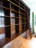 Bookcase with Library Ladder and Cupboards