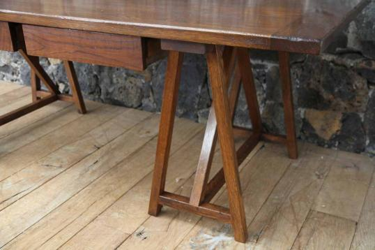 Trestle Table or Desk  with Two Drawers
