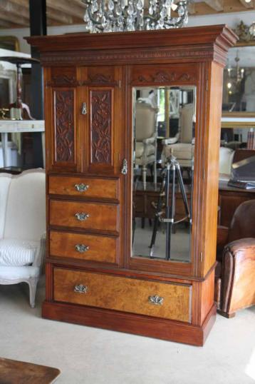 Colonial Kauri Wardrobe With Carved Door Panels New Zealand Colonial Era Furniture