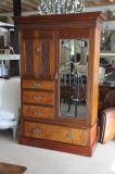 11-03 - Colonial Kauri Wardrobe with Carved Door Panels