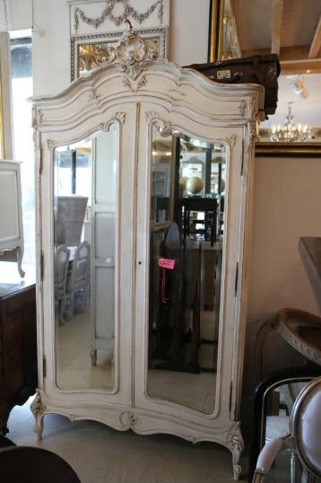 94-27 - French Painted Armoire with Mirrored Doors