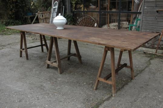 French Farmhouse Trestle Table With Benches