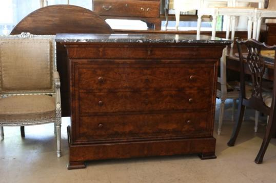 94-90 - Brown walnut commode with marble top
