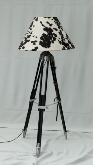 Tripod Floor Lamp With Faux Cow Hide Shade