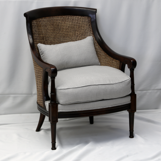 French Burr wood Cane Bergère Chair