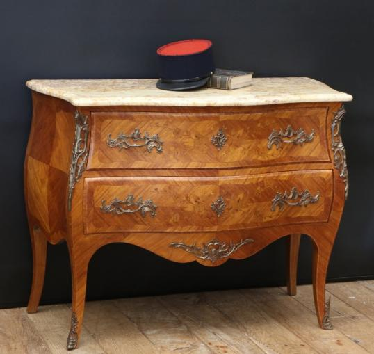 97-84 - Two Drawer Louis XV Bombe Commode