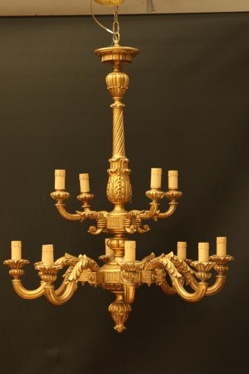Large Wooden Gold Chandelier