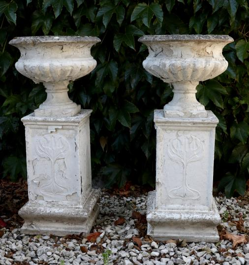 100-22 - Pair of Art Nouveau Reconstituted Marble Urns with Plinths