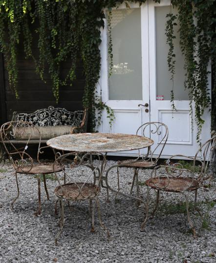Rustic Vintage French Table and 4 Chairs