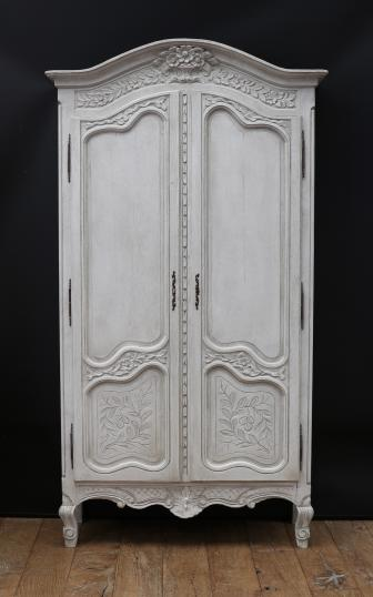100-38 - Crown Topped Louis XIV Painted Armoire