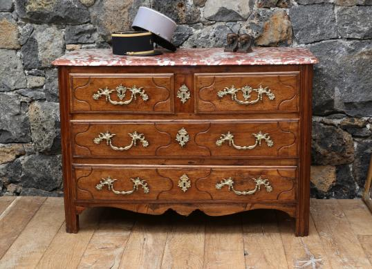 100-61 - Louis XIV Walnut Commode with Italian Marble Top