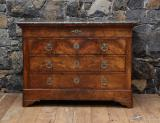 100-62 - Louis Philippe Walnut Commode with Grey Marble Top