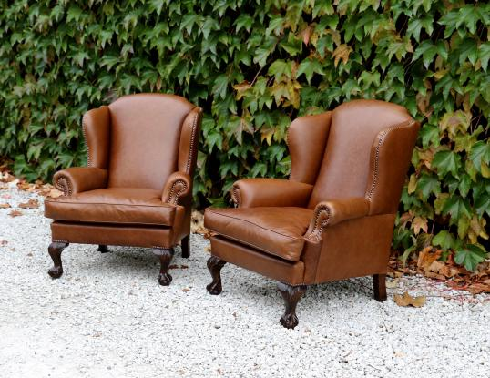 100-79 - Leather Wing Chairs