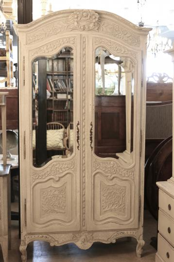 100-72 - French Painted Mirror Armoire