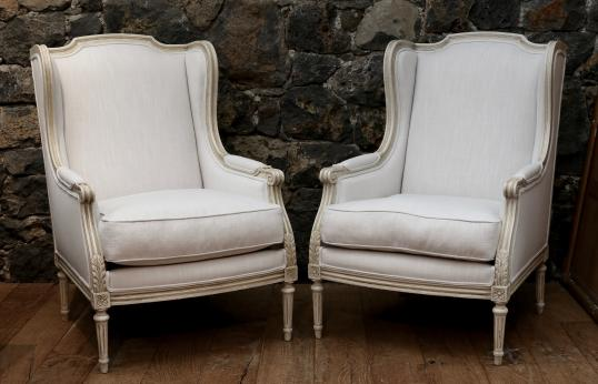 100 80 Pair Of French Wing Chairs
