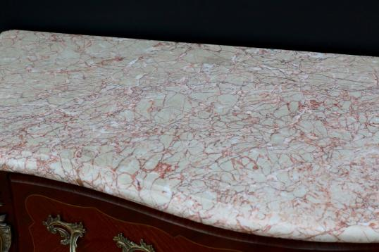 Kingwood Bombe Commode with Pink Italian Marble Top
