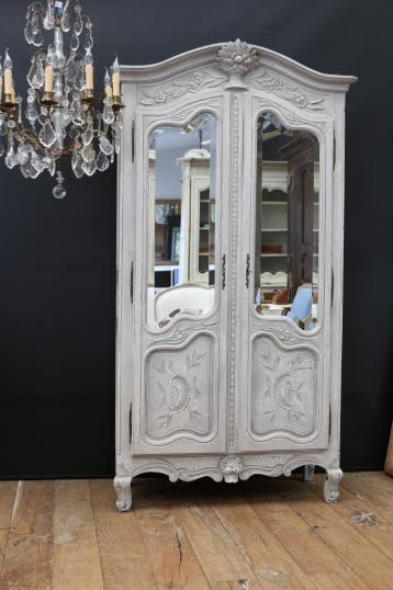 101-12 - Glazed Gesso finished Armoire
