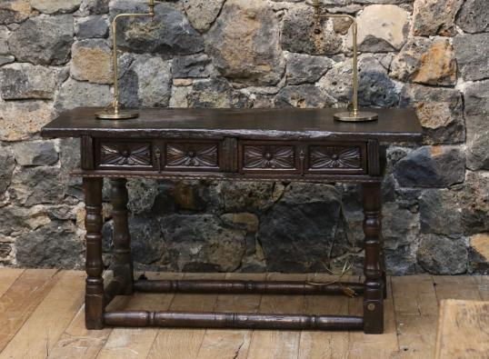 Ancient Spanish Two Drawer Side Table or Console
