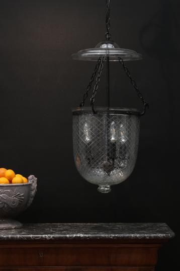 Medium Cut Glass Bell Jar Lantern